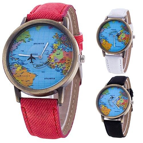 3247ebfc83a Novas Modas das Mulheres Senhora Menina Do Mundo Mapa Dial Tecido Denim  Strap Analógico Quartz Relógio De Pulso Estudantes
