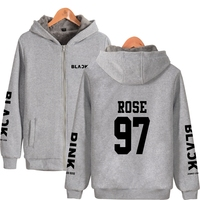 BLACKPINK Thicker Hoodie Zipper Women Fashion K pop Hip Hop Mens Winter Warm BLACKPINK Hoodie Sweatshirt Clothes 4XL