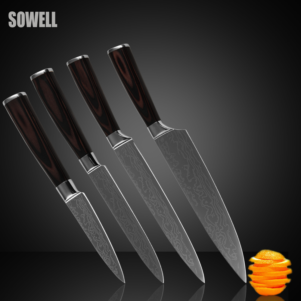 Stainless steel font b knives b font set 3 5 inch paring 5 inch utility 8