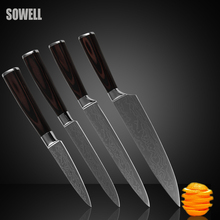 Фотография Stainless steel knives set 3.5 inch paring 5 inch utility 8 inch slicing chef kitchen knives beautiful gift sharp cooking knives