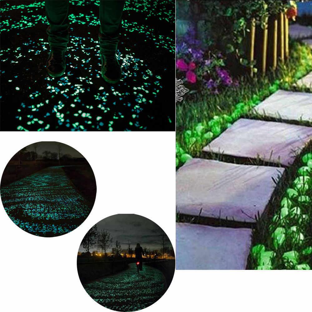 50 sztuk świecić w ciemności drobne kamyki dla domu ogród chodnik akwarium Fish Tank Valentine ogród dekoracja obejścia świecące kamienie