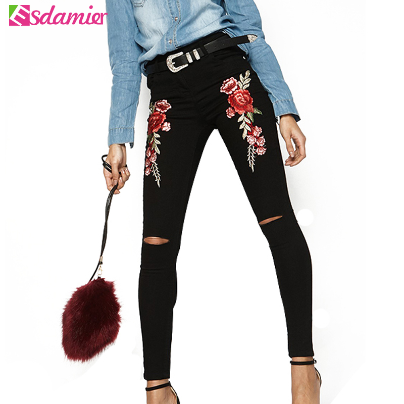 3 Colors Flower Embroidery High Waist Jeans Skinny Hole Jeans Woman Fashion Ripped Jeans Femme Hip Lift Trousers Female Pants sarvik 2016 summer new ripped jeans for women low waist girls hole out washed jeans hip hop female fashion jeans trousers femme