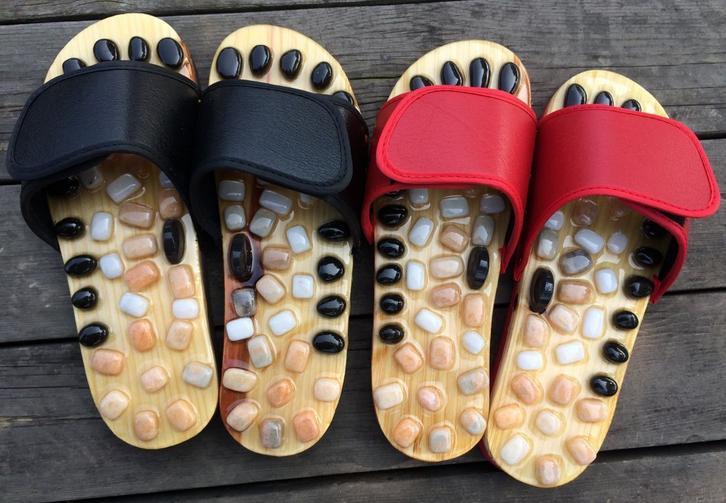 Natural Pebble Massage Slipper Foot Reflexology Massage Shoes Foot Massager Foot Health Care