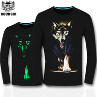 Cotton Mens Spring Autumn Long Sleeve T Shirt Green Fluorescent Casual Luminous T Shirts Male Fitness