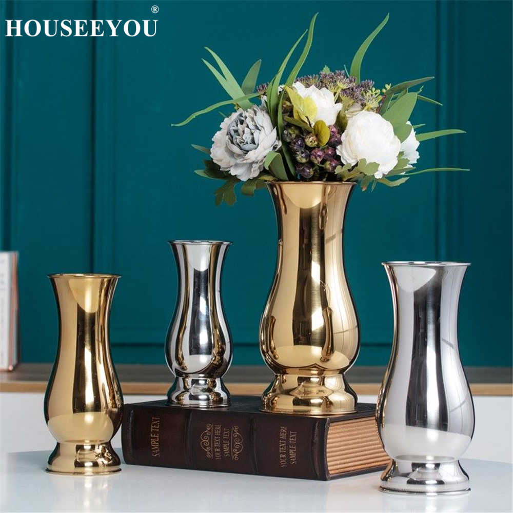Modern Fashion Silver Gold Plating Tabletop Vases Ornaments Crafts Decorative Stainless Steel Vase Metal Flower Pot Flowerpot
