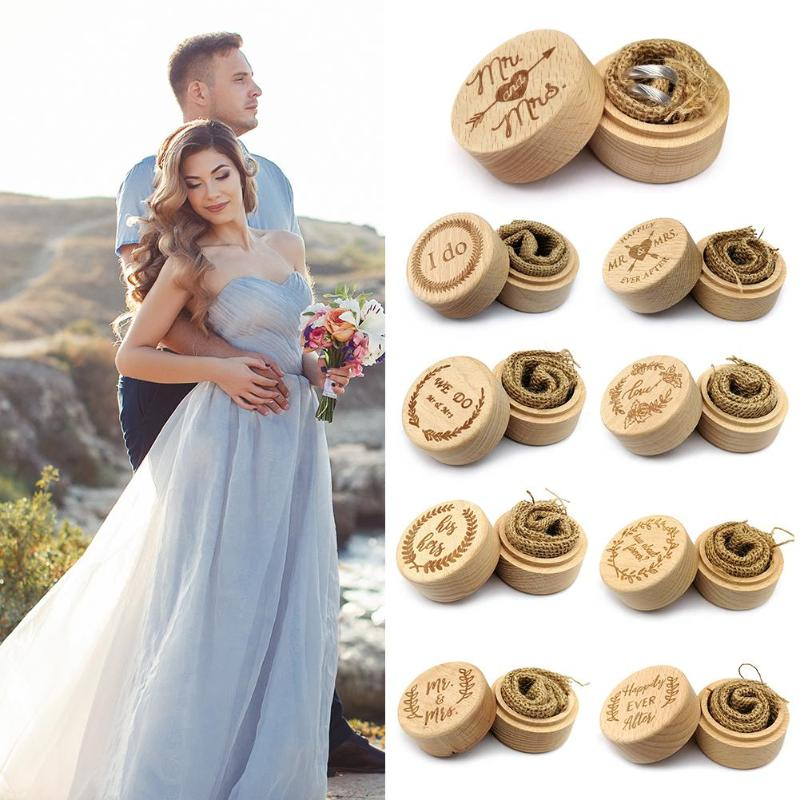 Customized Wedding Gifts Ring Box Ring Bearer Box Personalized Ring Holder For Engagemen Decoration 52*52*42mm