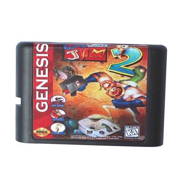 Terre Ver Jim 2 16 bits MD Carte de Jeu Pour Sega Mega Drive Pour Genesis
