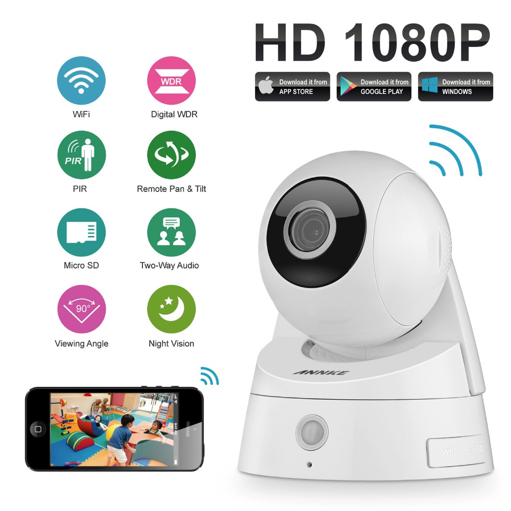 ANNKE HD 1080p Wireless Wi-Fi Camera with 2-Way Audio, 2.0MP Sensor, and Infrared Motion Detection PIR wi fi адаптер sat integral 1210 hd в киеве