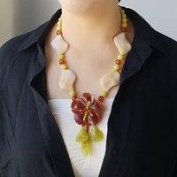 Lii Ji Natural Stone Agate Jade Yellow Jade Flower Pendant Tassel Necklace approx 58cm