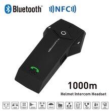 Новый 1000 М BT NFC Функция Fm-радио Мотоциклетный Шлем Bluetooth Интерком Гарнитура Переговорные Наушники Для Телефон/GPS/MP3