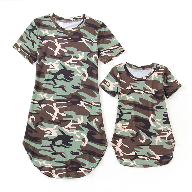 Mom and Daughter Family Matching Dress Clothes Kids Girls and  Women Camouflage Dress Summer Casual Style SundressMom and Daughter Family Matching Dress Clothes Kids Girls and  Women Camouflage Dress Summer Casual Style Sundress