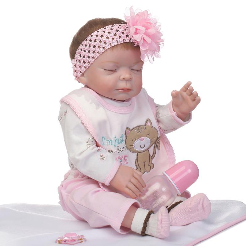 NPK girl DOLL 55cm Soft Silicone Reborn Dolls Baby Realistic Doll Reborn 22 Inch Full Vinyl Boneca Bebes Reborn Doll For kidsNPK girl DOLL 55cm Soft Silicone Reborn Dolls Baby Realistic Doll Reborn 22 Inch Full Vinyl Boneca Bebes Reborn Doll For kids
