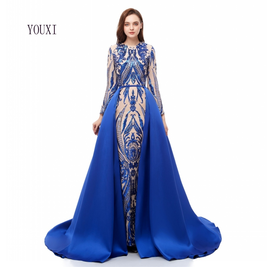Elegant Muslim Long Sleeve Blue   Evening     Dresses   2019 With Detachable Train Sequin Bling Moroccan Kaftan Formal Party Gown