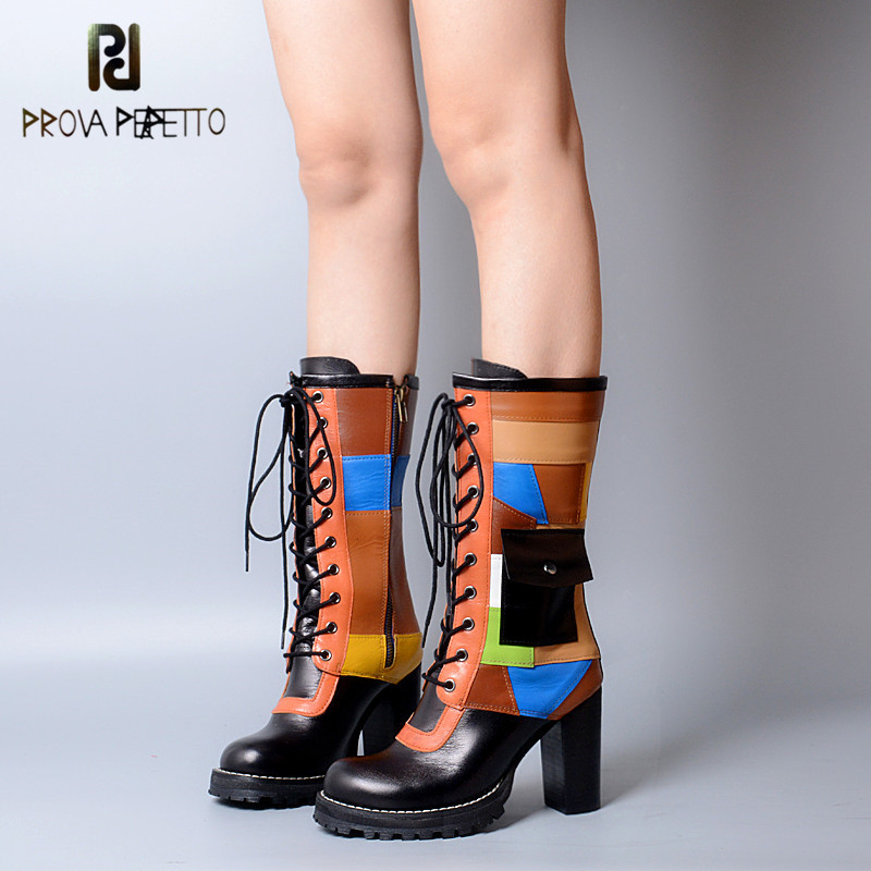 Prova Perfetto 2018 Original Brand Euramerican British Style Mixed Colors Retro Boots Thick Bottom Grid Colorful Martin Boots