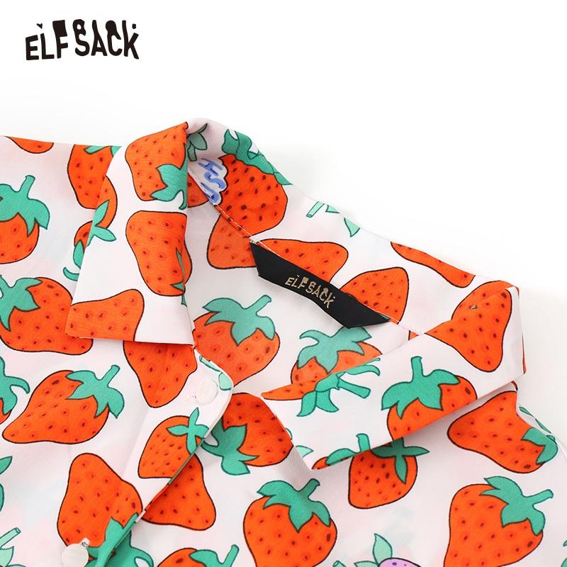 Image 4 - ELFSACK V Neck Casual Fruit Print Women Chiffon Shirts 2019 Summer Loose Female Blouses Fashion Office Lady TopsBlouses & Shirts   -