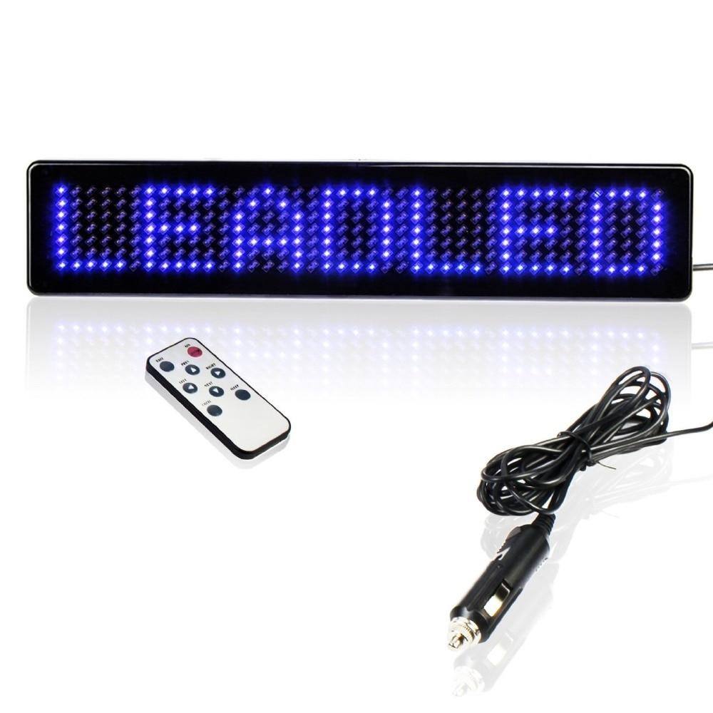 23 cm 12 V LED coche signo de Control remoto Uber motocicleta inglés Tabla de visualización desplazamiento mensaje programable azul barato Diy kit