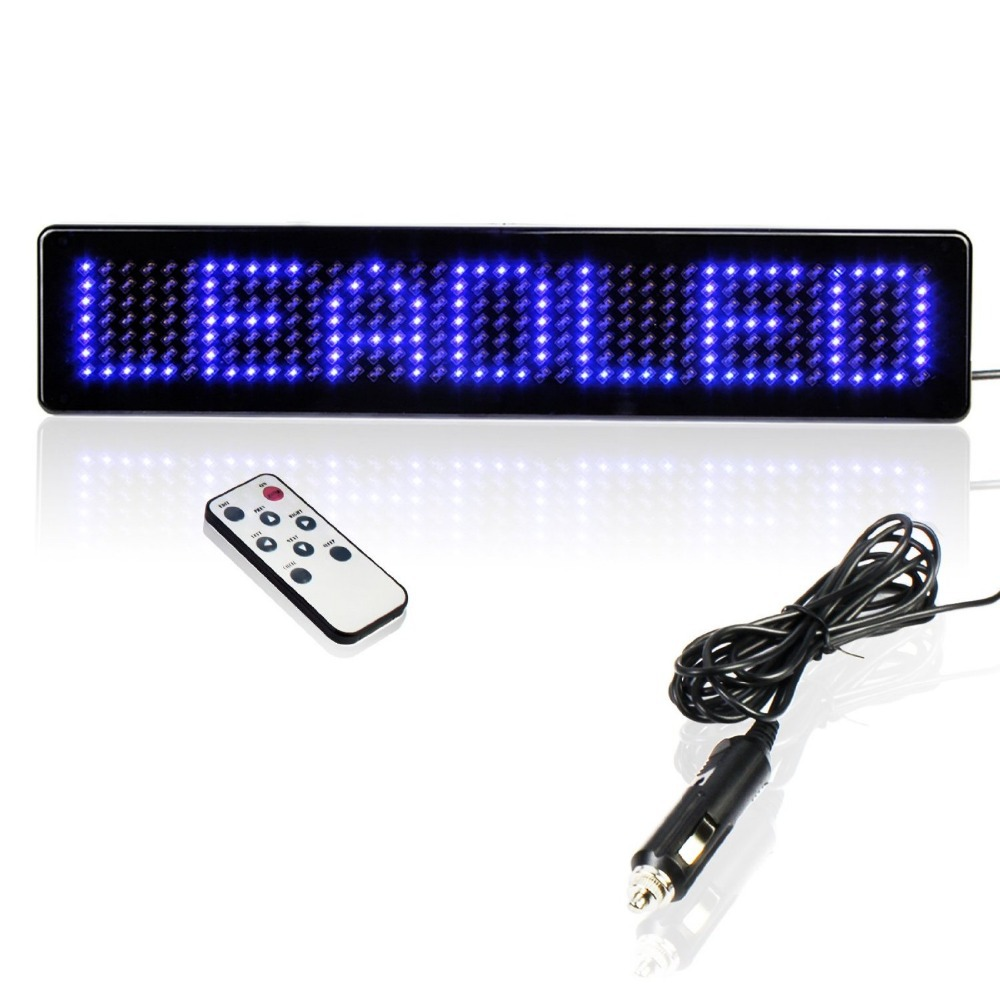 23CM 12v LED Car Sign Remote Control Motorcycle English Display Board Scrolling Programmable Message Blue Cheap Diy Kit