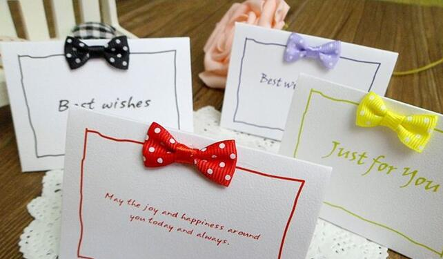 Mini greeting cards paper bowknot check for birthday wedding party