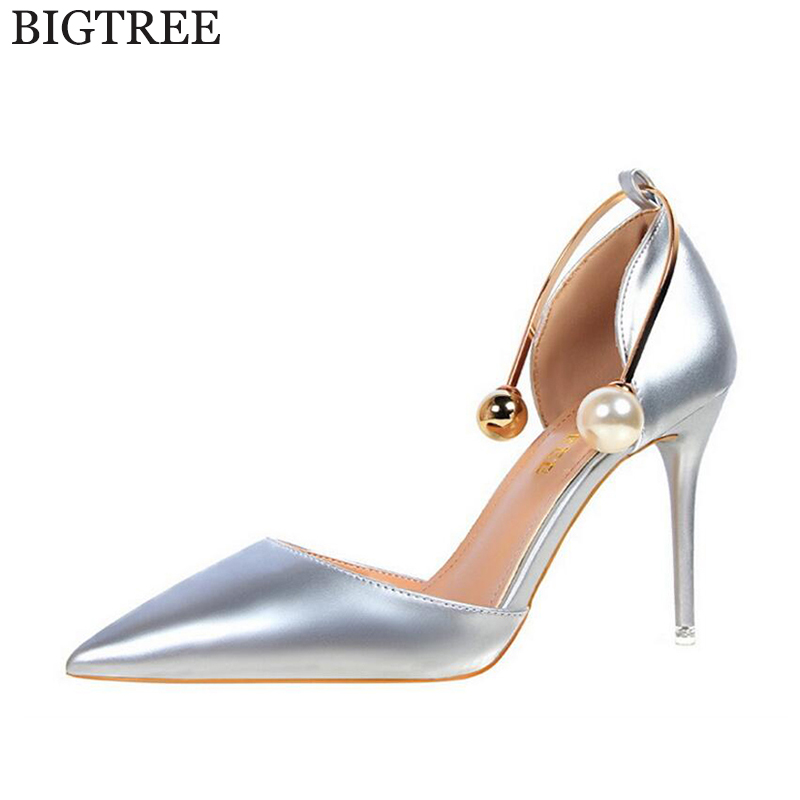 BIGTREE 2017 Sexy Pearl metal Point Toe Patent Leahter High Heels Pumps Shoes Woman's Red Sandals Heels Shoes Wedding Shoes k109 new 2017 sexy point toe patent leahter high heels pumps shoes sandals pr1987 woman s red sandals heels shoes wedding shoes
