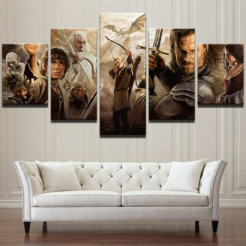 5 Panel Oil Canvas Painting Pictures Poster Frame Home Decor Lord Of The Rings Movie Characters Modern Printed Wall Art Bedroom image