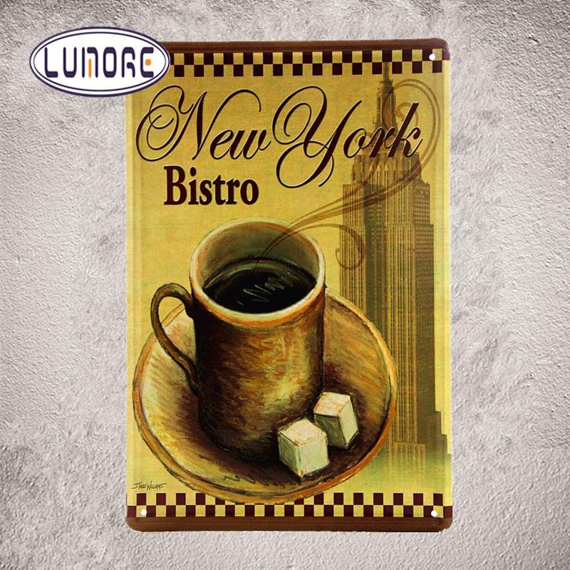 New York Bistro CAFE Tin Sign Metal Plate Poster Wall Modern Art ...