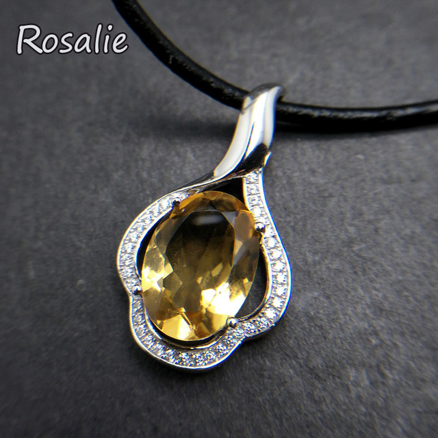 Rosalie,Natural Brazil good luster 4.5ct gemstone pendant necklace 925 sterling silver fine jewelry for women daily wear gift