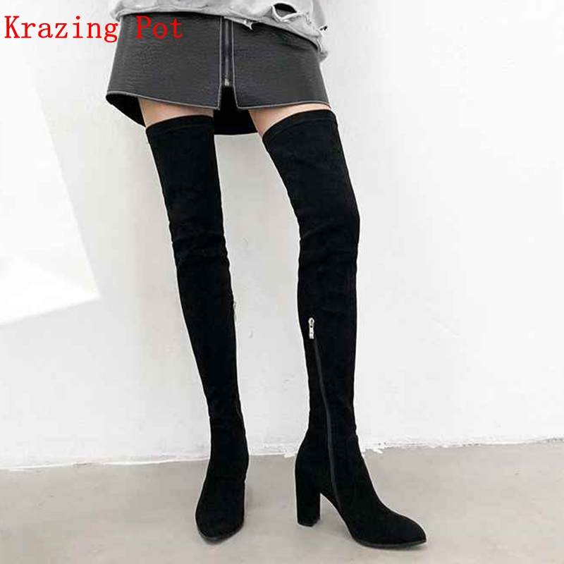 Krazing Pot flock pointed toe high heels streetwear solid gladiator European big size Winter stretch over