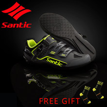 Santic Men No-Lock Cycling Shoes Reflective MTB Bike Bicycle Rubber Outsole(China)