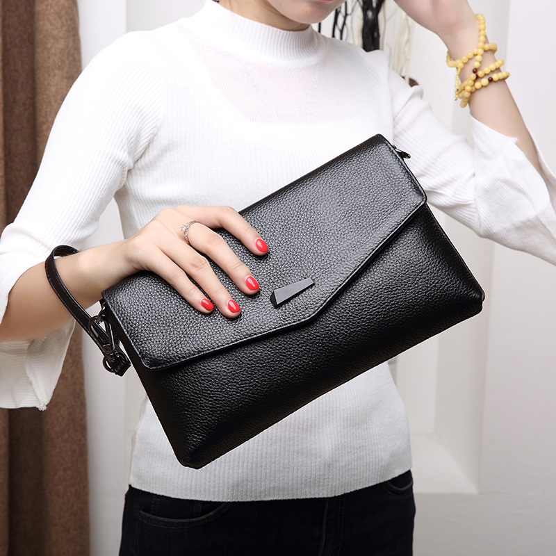 Genuine Leather Women Day Clutch Bag 2018 Handbags Shoulder Bags Messenger Bag Womens Clutches Real Leather Bag Free Shipping