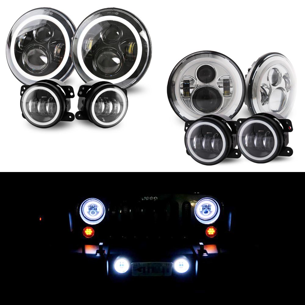 7 Black/Silver LED Headlights High Low Beams+ 4 LED Combo Fog Lights Compatible for Jeep Wrangler 97-2018 JK TJ LJ DOT Approve7 Black/Silver LED Headlights High Low Beams+ 4 LED Combo Fog Lights Compatible for Jeep Wrangler 97-2018 JK TJ LJ DOT Approve