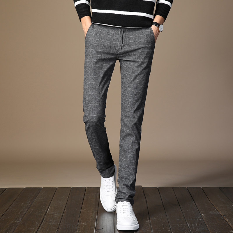 Summer new plaid slacks for men, small straight trousers, business, professional mens trousers