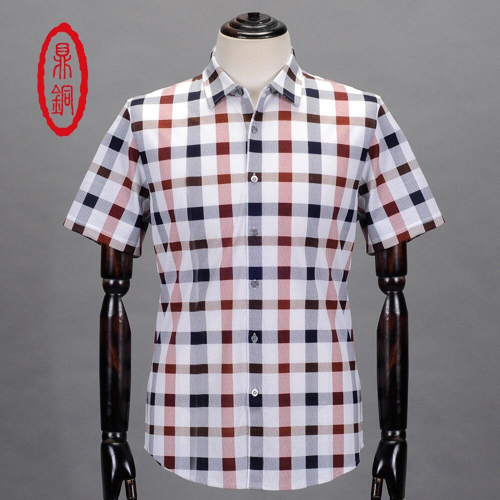 Online Get Cheap Mens Short Shirt Men Cotton Fashion Plaid Casual ...
