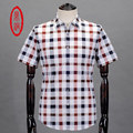 DINGTONG Men's Soft Breathable Cotton Silk Blends Short Sleeve Plaid Casual Shirts Men Lightweight Button Closure Checked Shirt