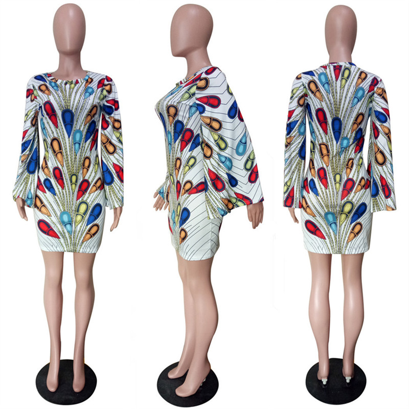 2019 New Print Peacock Sexy Bodycon Dress Women O-neck Sheath Flare Sleeve Elegant Mini Club Dress Female Night Party Dresses
