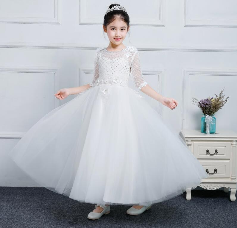 Flower Girl Dresses With Bow Beaded Lace Applique Ball Gown First Communion Dress for Girls Customized Christmas Dress lovely pink ball gown short flower girl dresses 2018 beaded pearls first communion dresses for girls pageant dress