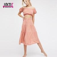 Jastie 2017 Summer Two Piece Set Dress Off The Shoulder Crop Top Elastic Sleeves Tank Top