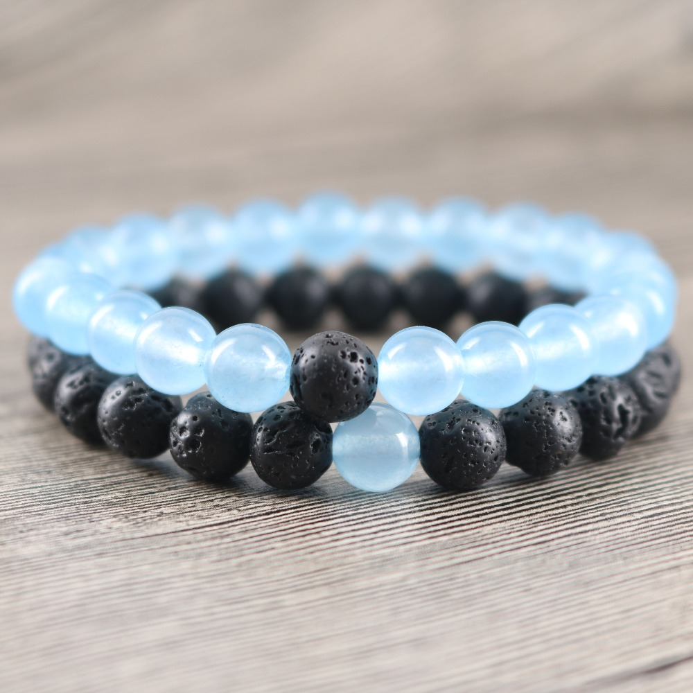 Rock Sea Blue Stone Couples Bracelets I miss you and me Sets Mothers Day Gifts Friendship Bracelet Mens Strand Beaded Jewely ...