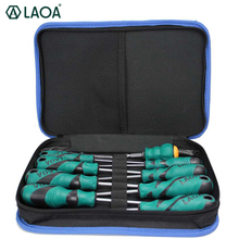 LAOA Cr-Mn Screwdriver set tool bag 6pcs or 9pcs Slotted and Phillips Screwdrivers kit With Magnetism screwdriver bits tool bag 6pcs insulated screwdriver set tester with ce gs slotted phillips screwdriver wtith magnetic hand tool kit