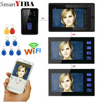 SmartYIBA Video intercom 3*7 inch black monitor Wired Wifi intercom Camera Night Vision Remote RFID/APP Unlocking