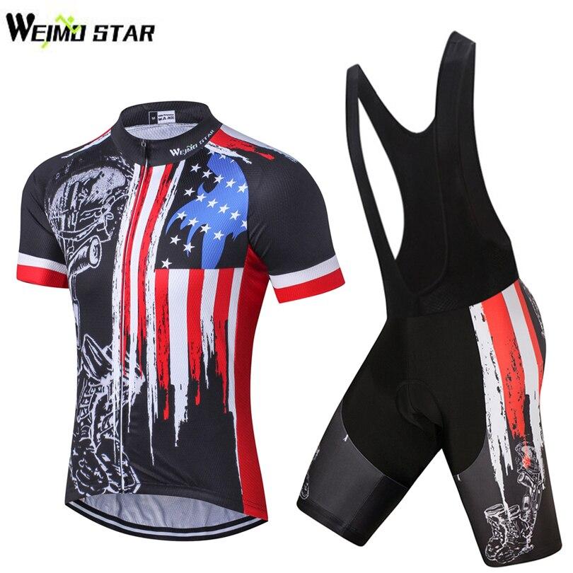 USA Skull Bike <font><b>Jersey</b></font> bib shorts set Men Cycling Clothing bicycle Top Suit Ropa Ciclismo maillot blouse MTB Shirts Sports Racing
