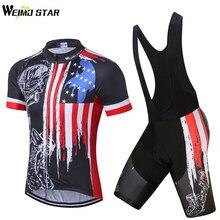 USA Schädel Bike Jersey trägerhose set Männer Fahrradbekleidung fahrrad Top Anzug Ropa Ciclismo maillot bluse MTB Shirts Sport Racing