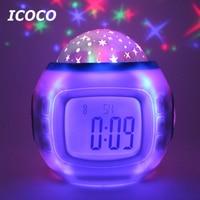 Icoco星空カレンダーデジタル時計led投影カレンダーナイトライト付き音楽光色変更可能用家の装飾
