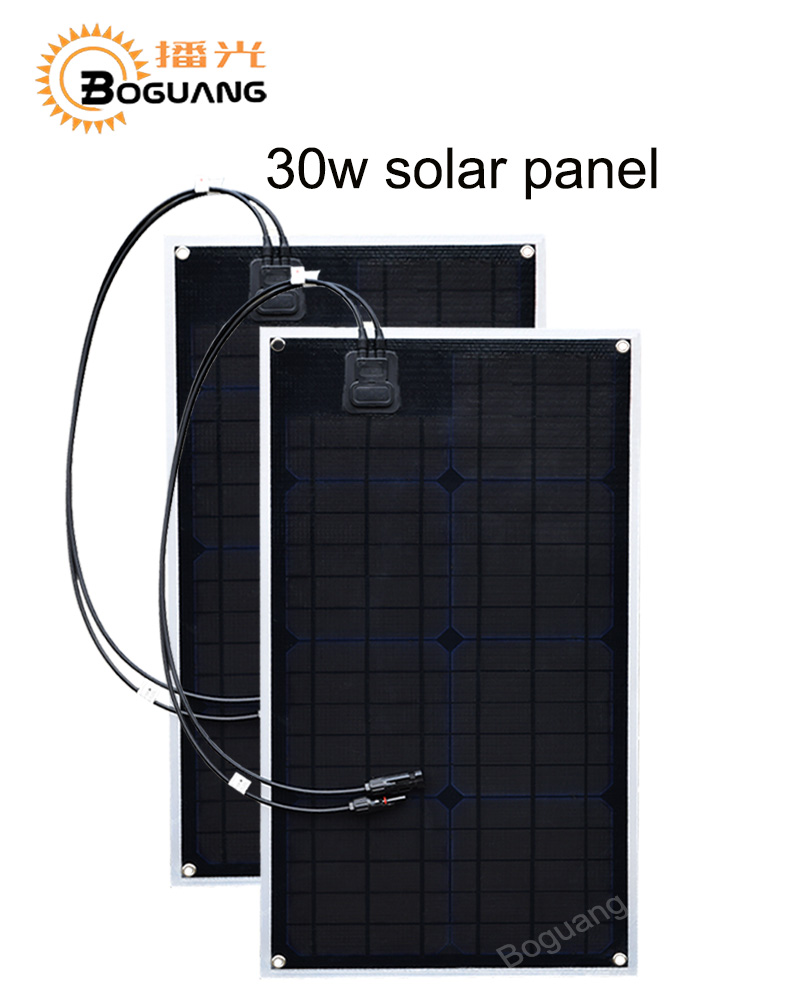 Boguang 2pcs 30w solar panel PCB module ETFE Monocrystalline cell  for 12v battery LED light car RV yacht electric charge power 50w 12v semi flexible monocrystalline silicon solar panel solar battery power generater for battery rv car boat aircraft tourism
