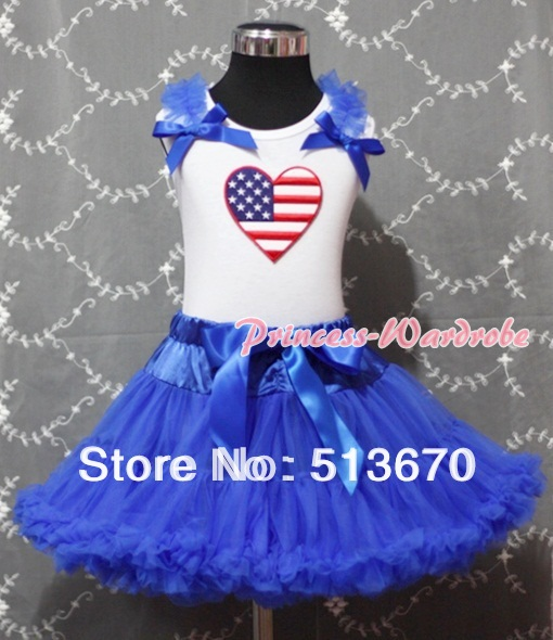 Royal Blue Pettiskirt with Patriotic America Heart Royal Blue Ruffles & Bow White Tank Top MAMM160 4th july america flag style stripe pettiskirt white ruffle tank top 2pc set 1 8year mamg1143