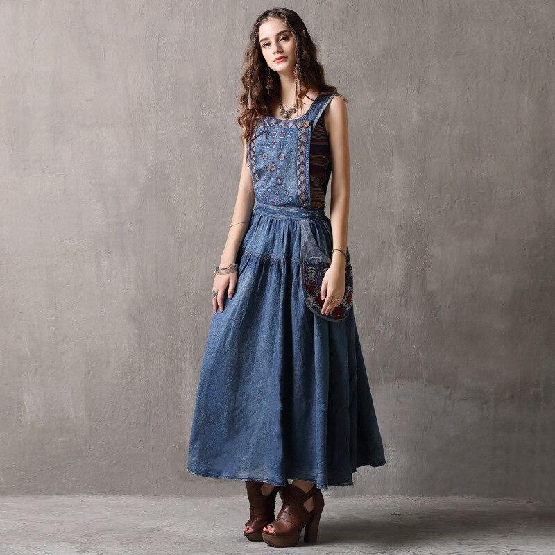 21545f66542b51 MUXU frauen Böhmischen Vintage backless floral denim kleid retro boho kleidung  vestido jeans lose baumwolle sukienka
