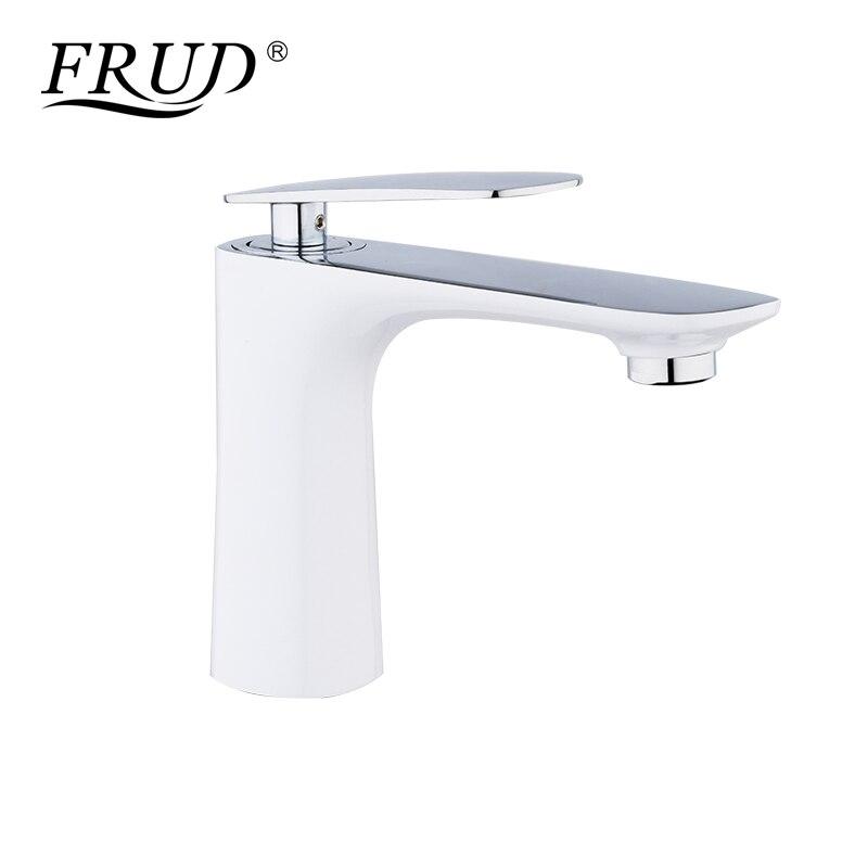 FRUD robinets de bassin moderne blanc Chrome laiton salle de bain évier robinet mitigeur trou toilette bain mélangeur robinet d'eau grue Y10037