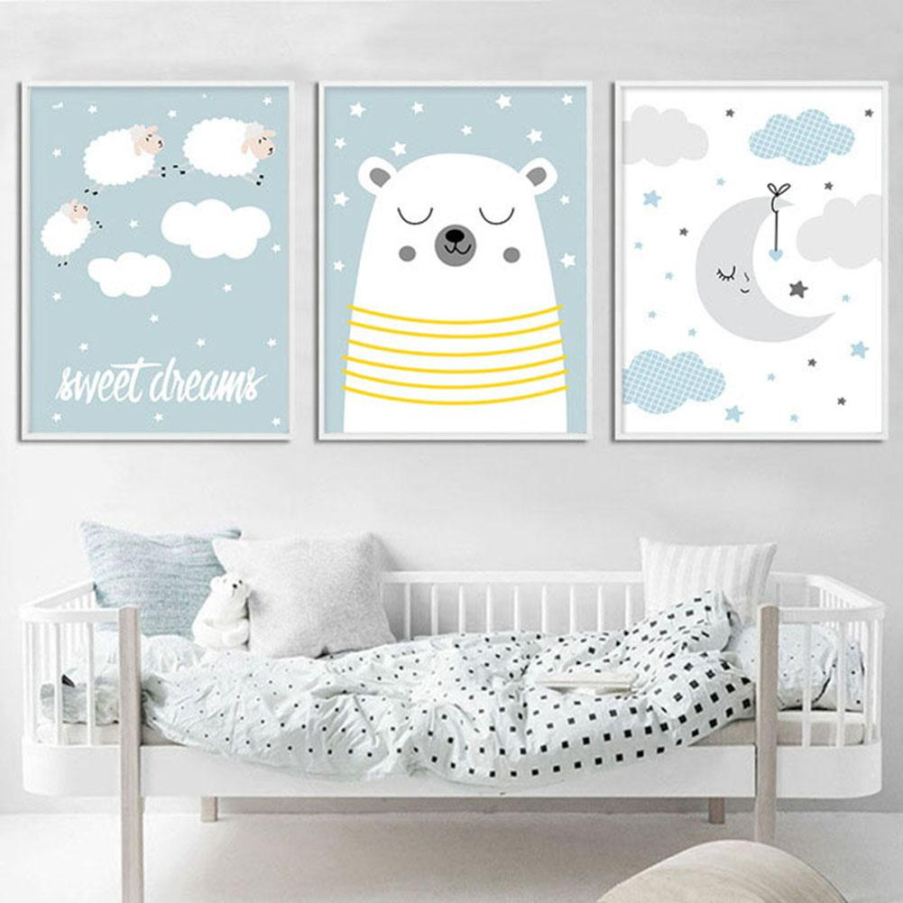 Painting Bear Moon Sheep Cloud Picture Art Poster Set Wall ...
