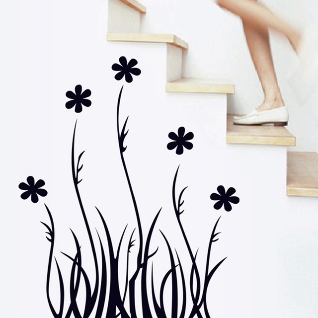 Black leaves flowers wall sticker decal diy poster home kitchen decoration accessories living room bedroom kid
