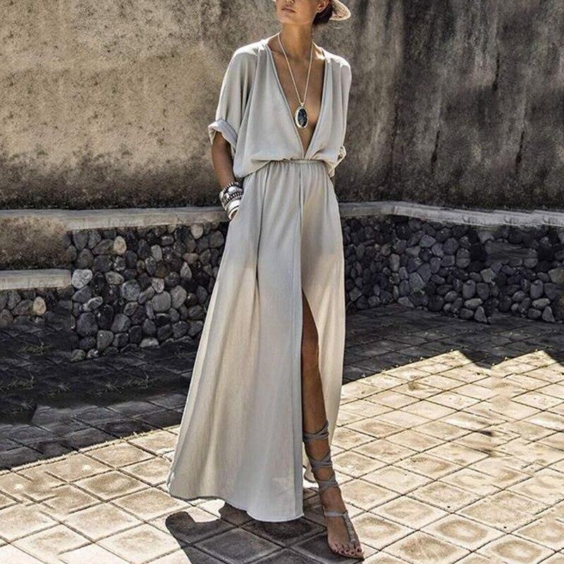 Сексуальное женское платье с глубоким v образным вырезом и разрезом, Повседневное платье с коротким рукавом, макси, свободное однотонное платье свитшот, элегантные летние платья до щиколотки