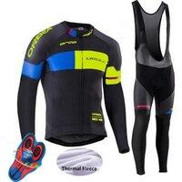 ORBEA Team 2018 Winter Thermo Fleece Quick Dry Radtrikot Set Outdoor Sport Mantel Kleidung Bib Anzug